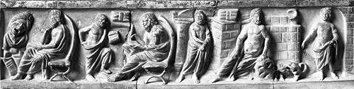 Philosophers, Relief from a sarcophagus, 2nd century A.D, Inv. Sk 844, Antikensammlung Staatliche Museen zu Berlin