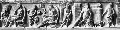 Philosophers, Relief from a sarcophagus, 2nd century A.D, Inv. Sk 844, Antikensammlung Staatliche Museen zu Berlin