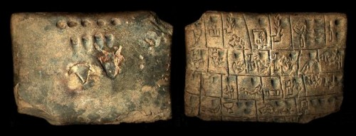 Clay tablet inscribed using the proto-cuneiform script. Uruk IV (c.3350-3200 BCE   Photo: Museum of the Ancient Near East (VAM / Staatliche Museen zu Berlin) and CDLI