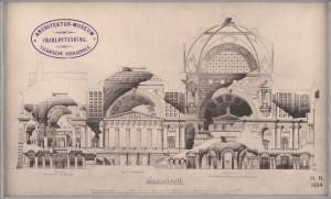 Wettbewerb Museumsinsel, Berlin: Querschnitt durch Hauptvestibül und Parthenon, große Mittelhalle, Pergamon und Zentralraum für hellenistische Skulpturen