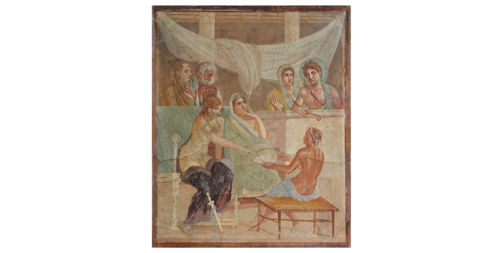 Admet and Alkestis: Fresco, Casa di Poeta tragico in Pompeji, 1st century AD, Naples Archaeological Museum, inv. 9026 | Photo: Marie-Lan Nguyen, Public Domain