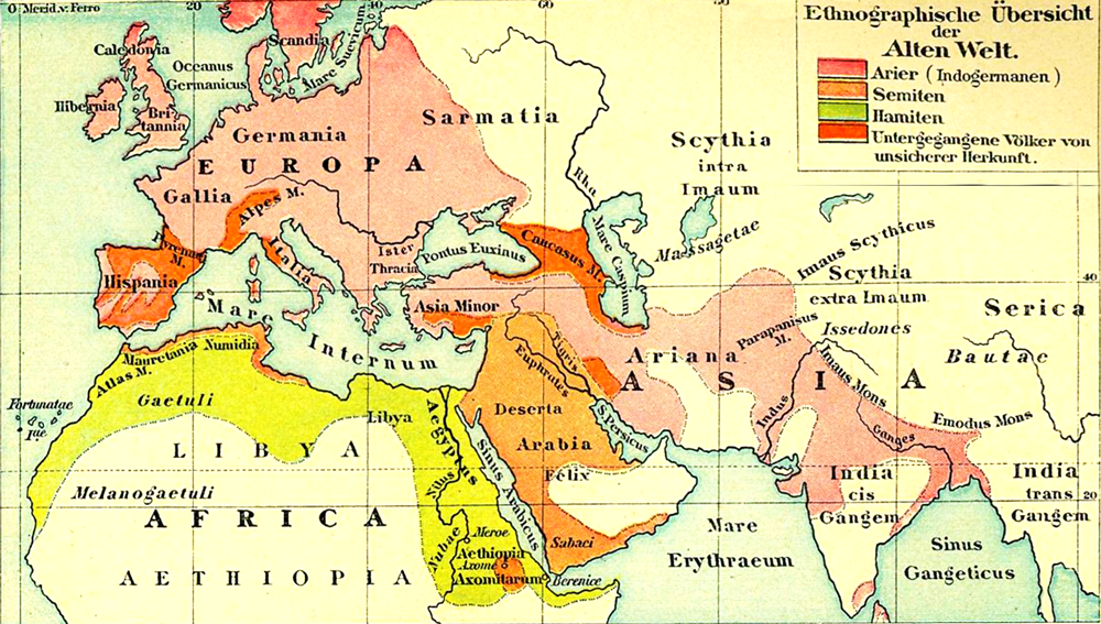 Ethnographic map of the Old World – Historical map 1893