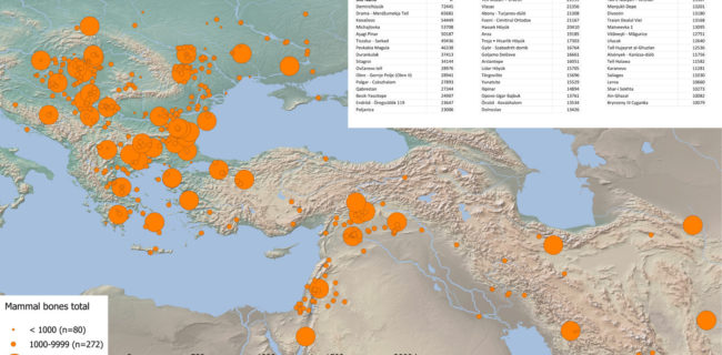 Mapping of sites with major bone assemblages from South-East Europe and South-West Asia. Time frame: 6500-1500 BC   Source: Suhrbier 2017