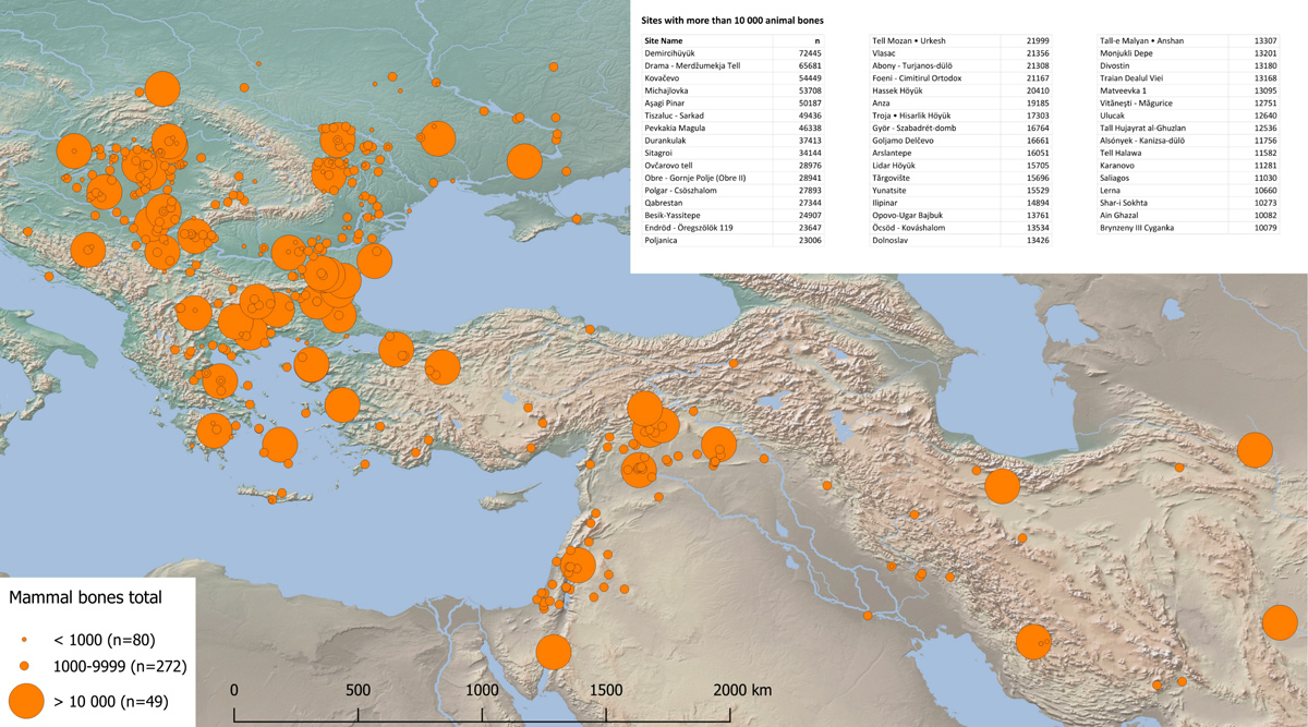 Mapping of sites with major bone assemblages from South-East Europe and South-West Asia. Time frame: 6500-1500 BC | Source: Suhrbier 2017