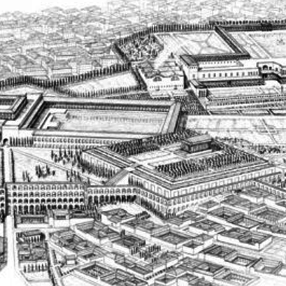 Ansicht des Palatins in neronischer Zeit Zeichnerische Rekonstruktion für die Mitte des 1. Jh. n. Chr. | Autor: Jörg Denkinger, Deutsches Archäologisches Institut