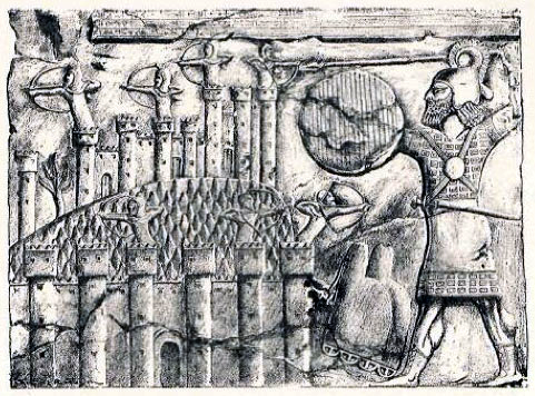 Taking of a town in Urartu by the Assyrians; Drawn by Faucher-Gudin, from the drawing by Botta