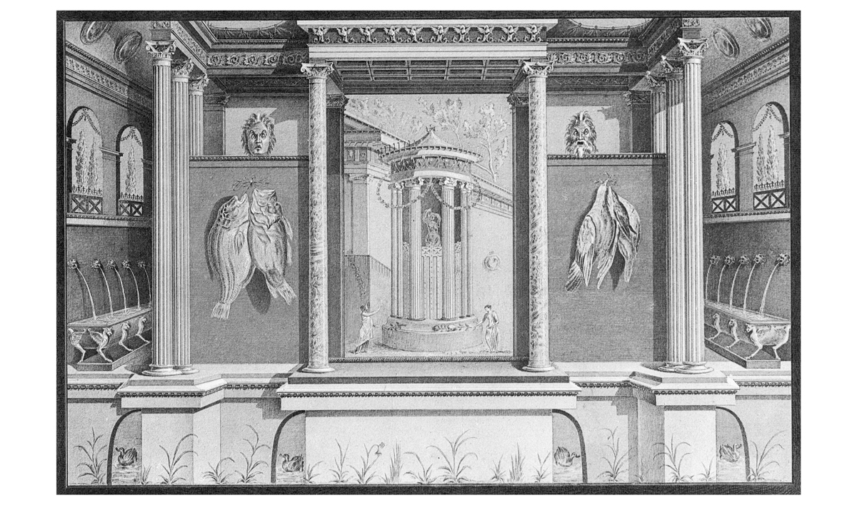 Wall system in the second style from house VI, 17, 41 in Pompeji (c. 40 BCE) after the reconstruction by A. Sikkard. Reproduction after A. Mau. Geschichte der decorativen Wandmalerei in Pompeji. Berlin: Reimer, 1882, plate 7b.