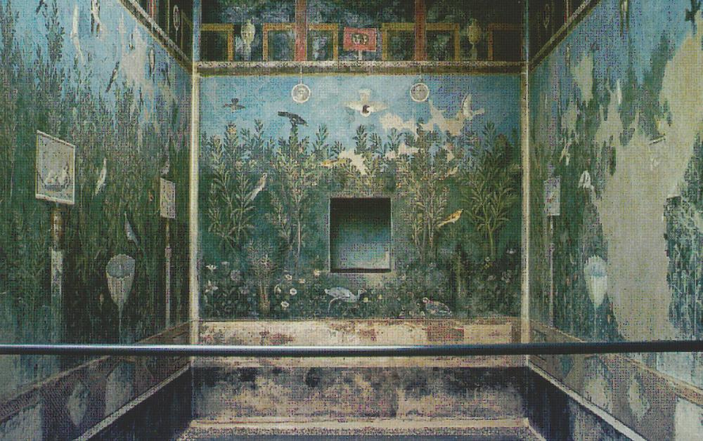 Casa del Bracciale d'Oro, Pompeji VI 17,42, Gartentriclinium (b), Gartendarstellung mit dionysischen Motiven | Quelle: B. Andreae, Am Birnbaum. Gärten und Parks im antiken Rom, in den Vesuvstädten und in Ostia (1996), Taf. 19,3.