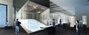 """Rendering of the exhibition module """"Graphic Communication Systems in Mesoamerica"""""""