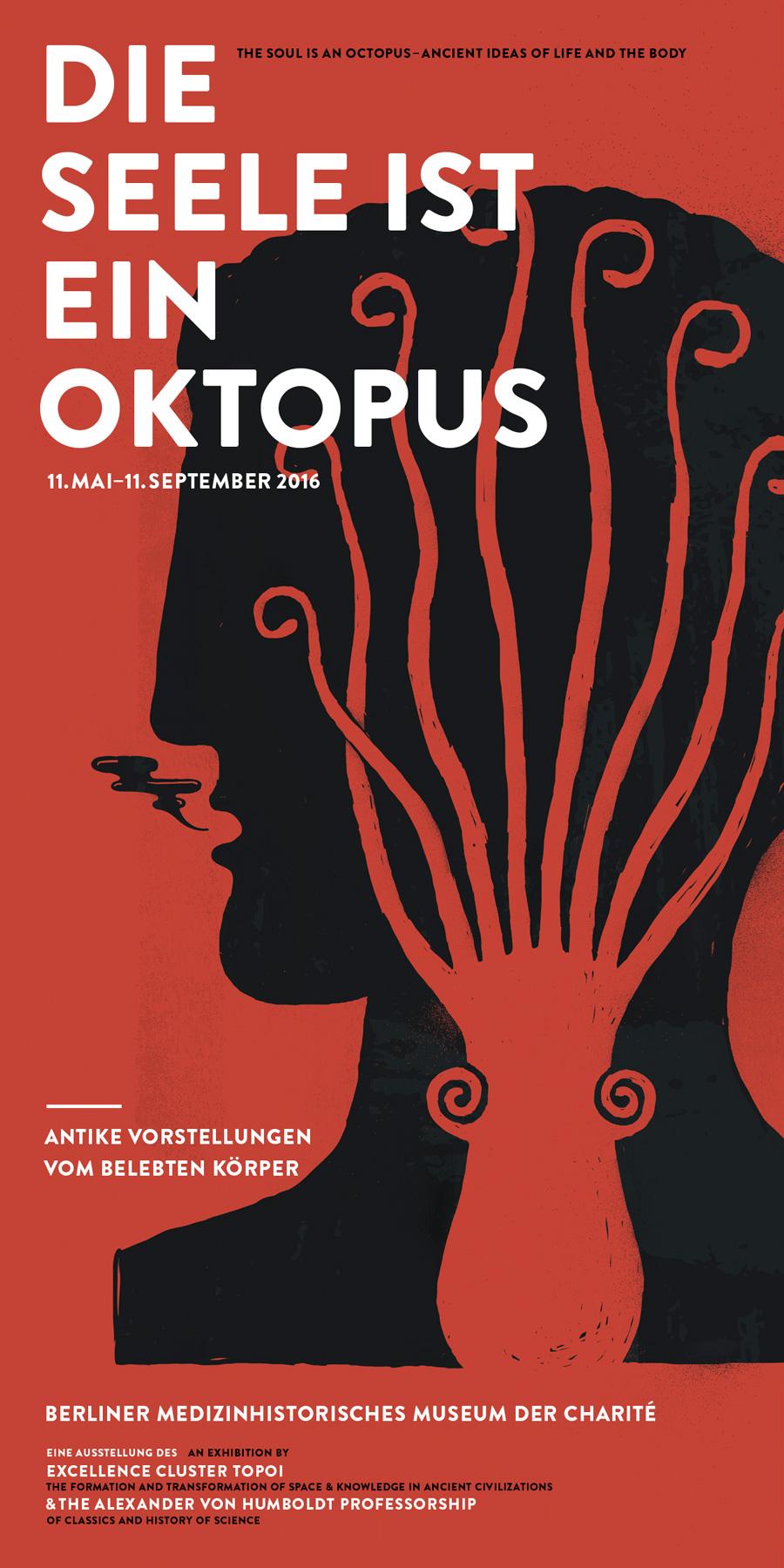 Die Seele ist ein Oktopus: Zeichnung von Christoph Geiger | Kopf mit Oktopus