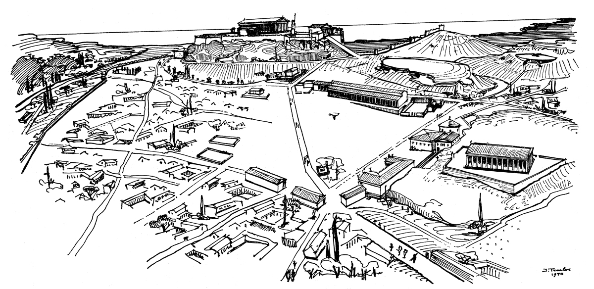 The Agora from northwest, middle of 4th century BCE. Illustration J. Travlos