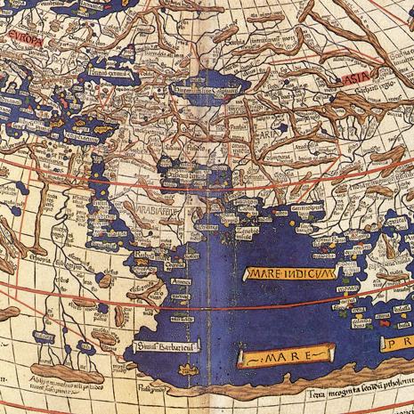 Excerpt of Claudius Ptolem - The World | Author: Johannes Schnitzer (engraver), Claudius Ptolemy, (cartographer) | Source: Decorative Maps by Roderick Barron, 1989