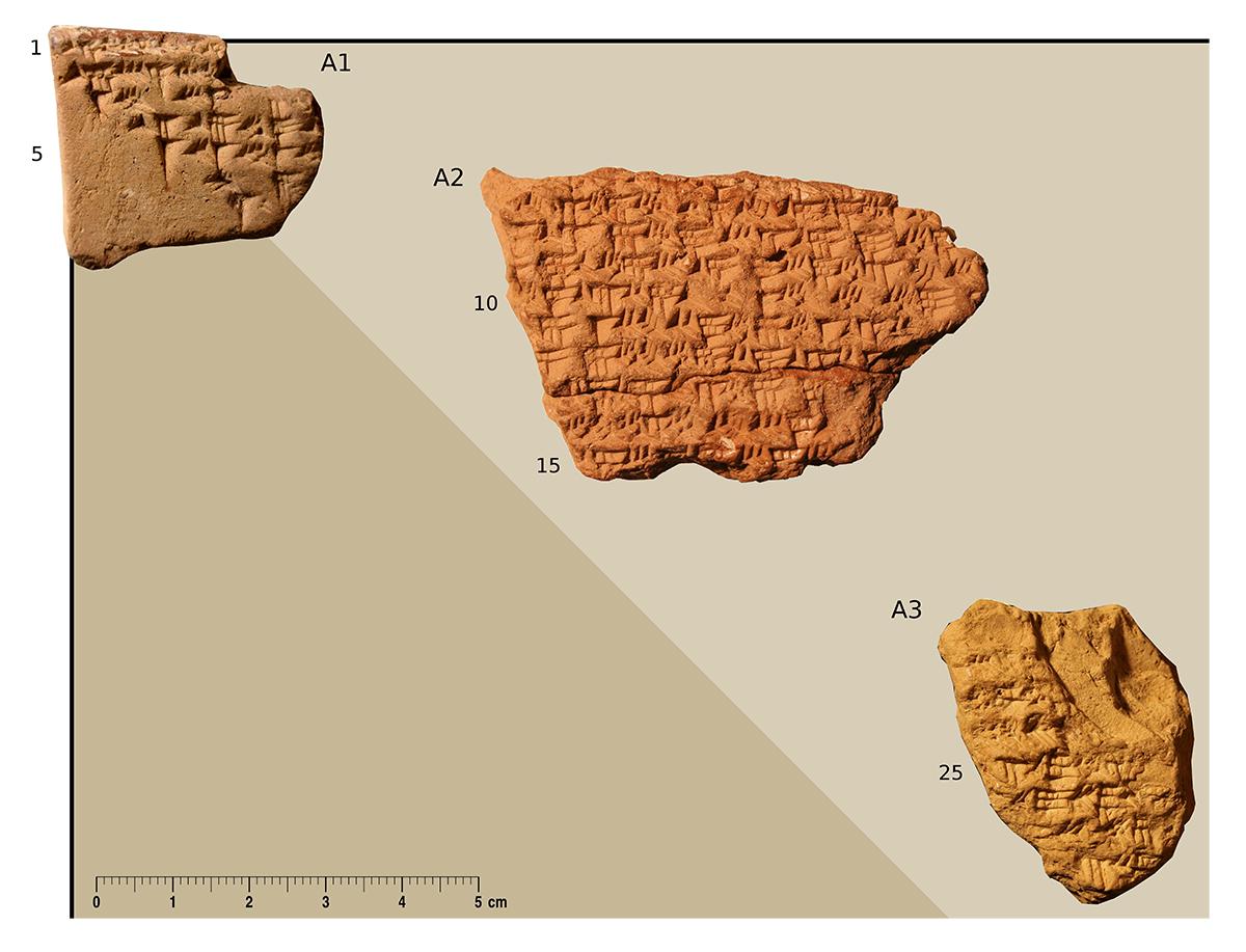 Fragmente einer Keilschrifttafel mit einer mathematischen Tabelle. Foto/Collage: Mathieu Ossendrijver © Trustees of the British Museum.