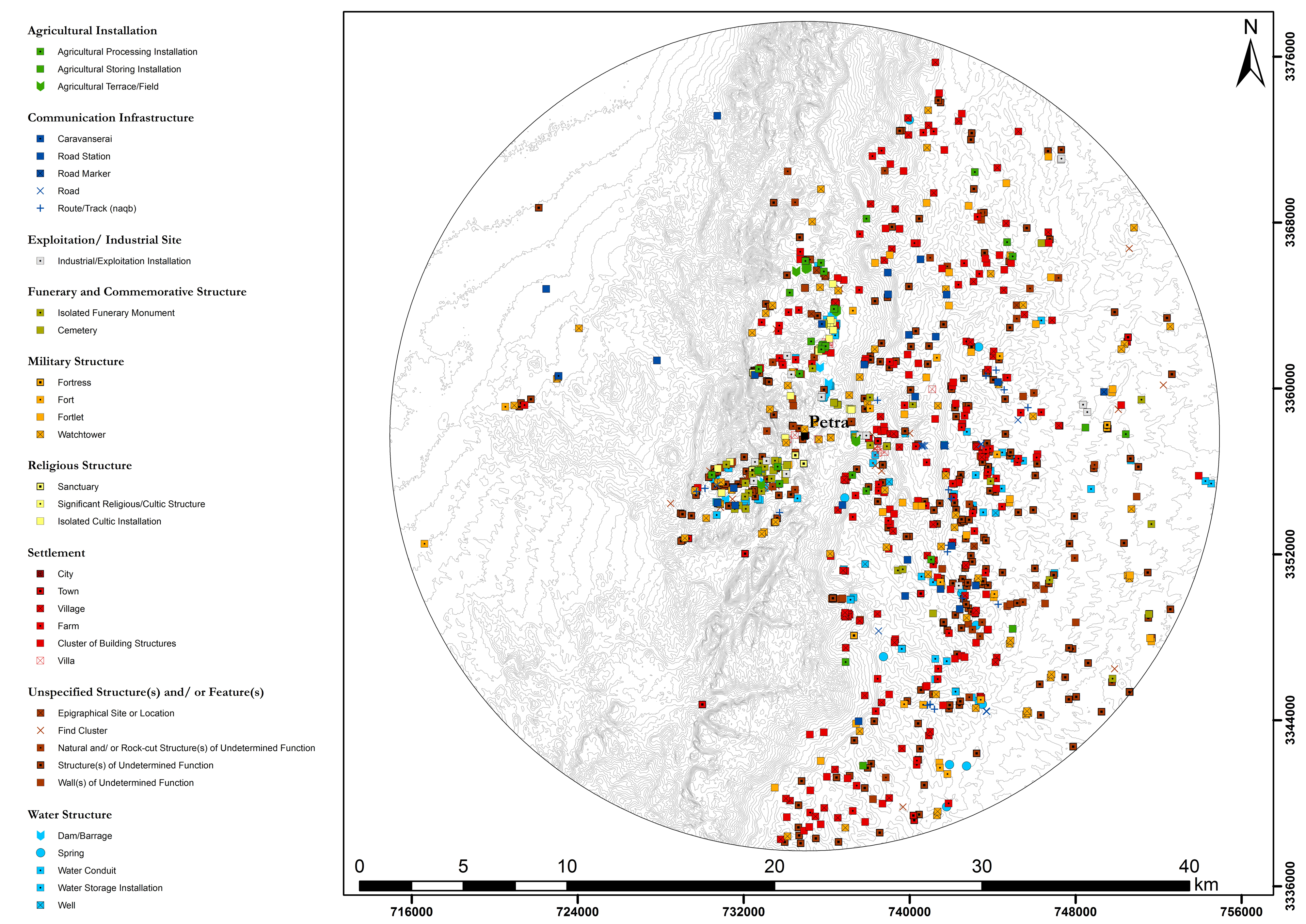 Site distribution map of archaeological sites evidenced for the 1st century AD in the Petraean hinterland (20km radius around Petra) | W. M. Kennedy