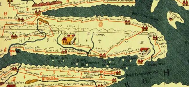 Part of Tabula Peutingeriana, Konrad Miller 1887 | Source: Bibliotheca Augustana, Wikimedia | Public Domain