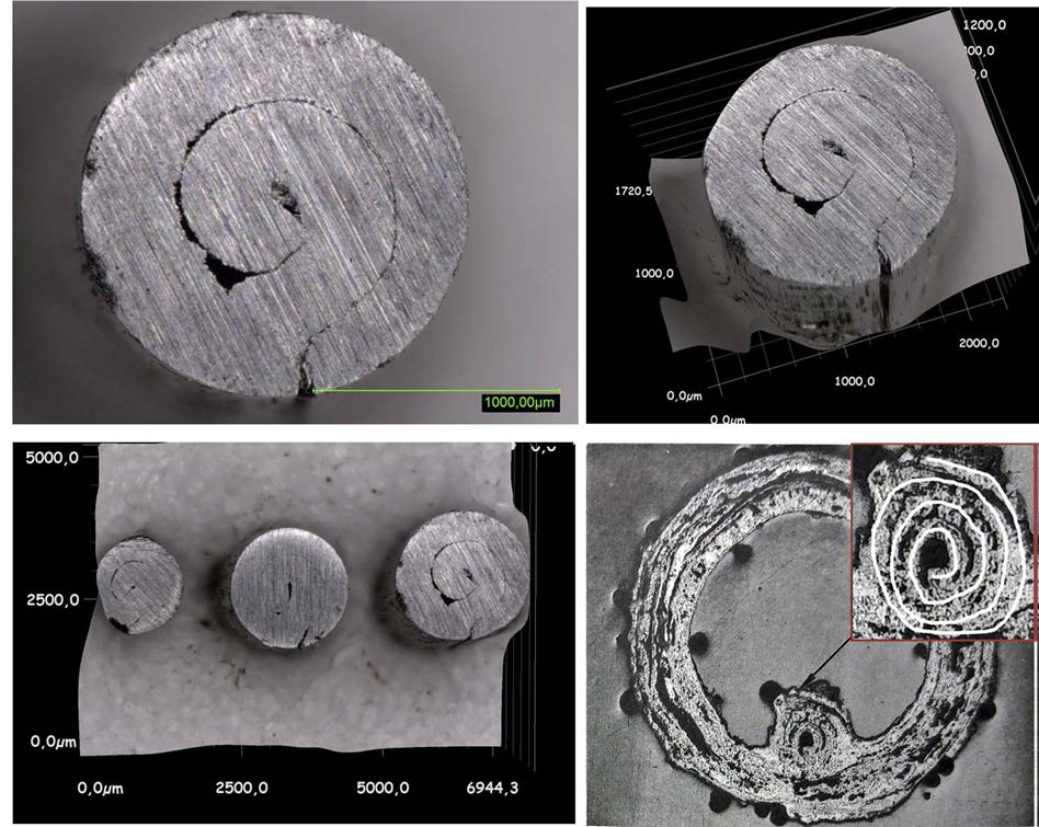Figure 2: Microsections of a mail ring from the burial at Zemplín | Source: bottom right from: M. Longauerová – S. Longauer, Structural Analysis of a Scabbard and a Ring Mail from Zemplín, Slovenská Archeológia 38, 1990, 351 Fig. 3, 2. Top and bottom left: Microsections of wires drawn according to the roll-drawing method in the LVR-LandesMuseum Bonn | Photo: Frank Willer