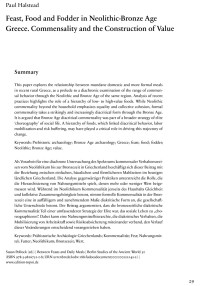 """Cover Artikel """" Feast, Food and Fodder in Neolithic-Bronze Age Greece. Commensality and the Construction of Value"""""""