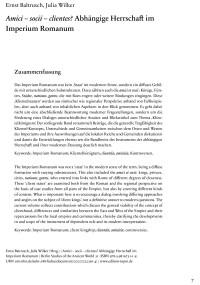 """Cover Artikel """"Amici-socii-clientes? Abhängige Herrschaft im Imperium Romanum"""""""