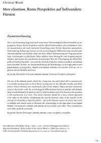 """Cover Artikel """"More cientium. Roms Perspektive auf befreundete Fürsten"""""""