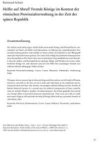 """Cover Artikel """"Helfer auf Abruf? Fremde Könige im Kontext der römischen Provinzialverwaltung in der Zeit der späten Republik"""""""