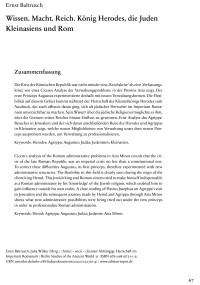 """Cover Artikel """"Wissen. Macht. Reich. König Herodes, die Juden Kleinasiens und Rom"""""""