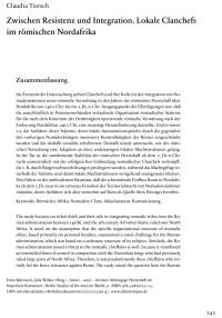 """Cover Artikel """"Zwischen Resistenz und Integration. Lokale Clanchefs im römischen Nordafrika"""""""