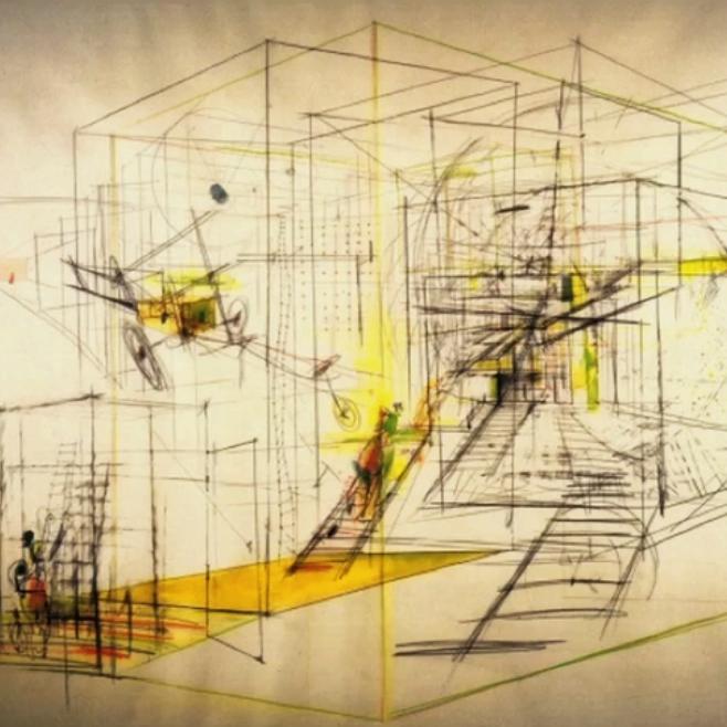 """Mobiles Labyrinth, Skizze zur Stadtvision """"New Babylon"""" von Constant Nieuwenhuys 1968"""