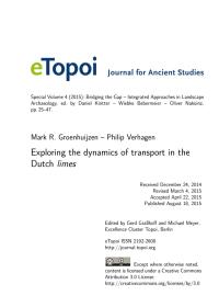 Cover: eTopoi Secial Volume 4, Artikel von M. Groenhuijzen /P. Verhagen