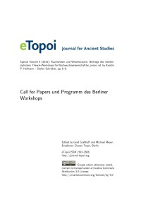 eTopoi Special Volume 5 Cover: Call for papers