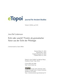 Cover eTopoi Volume 5 Artikel Lindermann
