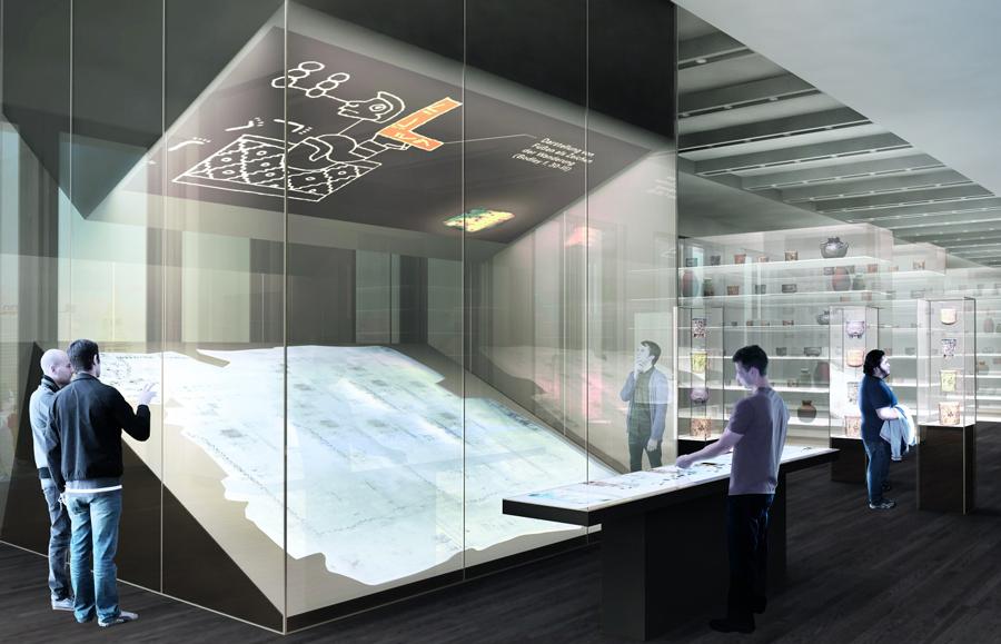Entwurf des Ausstellungsbereichs Mesoamerika mit Lienzo Seler II © Stiftung Preußischer Kulturbesitz, Ralph Appelbaum Associates/malsyteufel, 2013