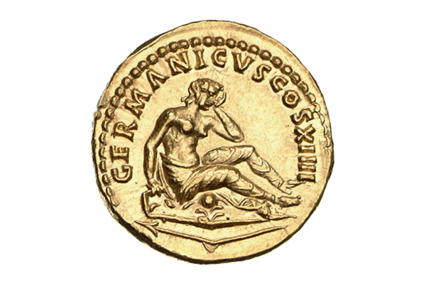 Reverse of an aureus of Domitianus (88 AD). Mourning Germania seated on her shield. In front of her lies her broken spear | Source: Münzkabinett SMB