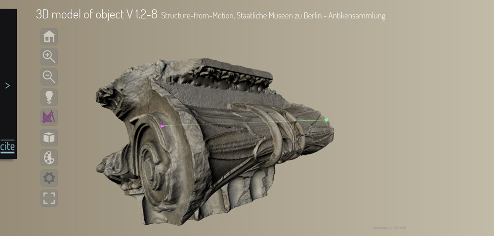 3D model of object V 1.2-8, Structure-from-Motion, Staatliche Museen zu Berlin - Antikensammlung , 2016, Bernhard Fritsch, Architectural Fragments from Magnesia, Edition Topoi, DOI: 10.17171/2-3-8-1 3D model of object V 1.2-8, Structure-from-Motion, Staatliche Museen zu Berlin - Antikensammlung , 2016, Bernhard Fritsch, Architectural Fragments from Magnesia, Edition Topoi, DOI: 10.17171/2-3-8-1 Creative Commons BY-NC-SA 3.0 DE