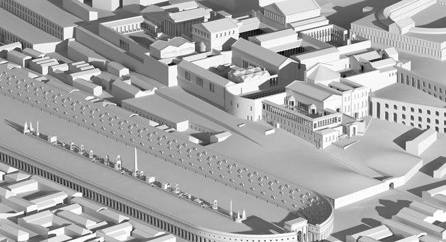 Rome, Palatine. Hypothetical reconstruction of the Flavian phase of the palace | Author: Lengyel Toulouse Architekten based on a 3D-Model of A. Müller | Copyright: Architekturreferat DAI Berlin