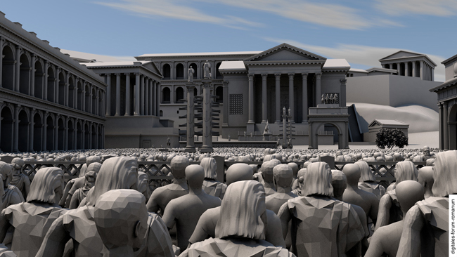Virtual reconstruction of a general assembly at the ancient Forum Romanum in Rome, view of the speaker at the rostra Augusti | © digitales forum romanum | 3D-model: S. Muth, A. Müller, J. Bartz, D. Mariakschk