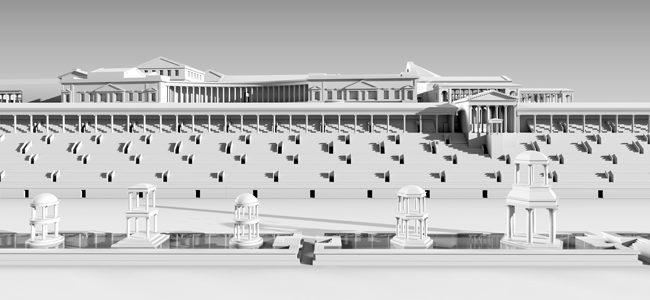 Virtual reconstruction of the facade of the trajanic palace on the Palatine in Rome towards the Circus Maximus | © Architekturreferat DAI Berlin | 3D-model: Lengyel Toulouse Architekten on basis of a digital model of A. Müller