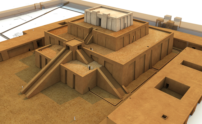Technical reconstruction of the Eanna sanctuary of the 21st century BCE in the central district of Uruk (Warka, Iraq) | Source: © artefacts-berlin.de | Material: Deutsches Archäologisches Institut
