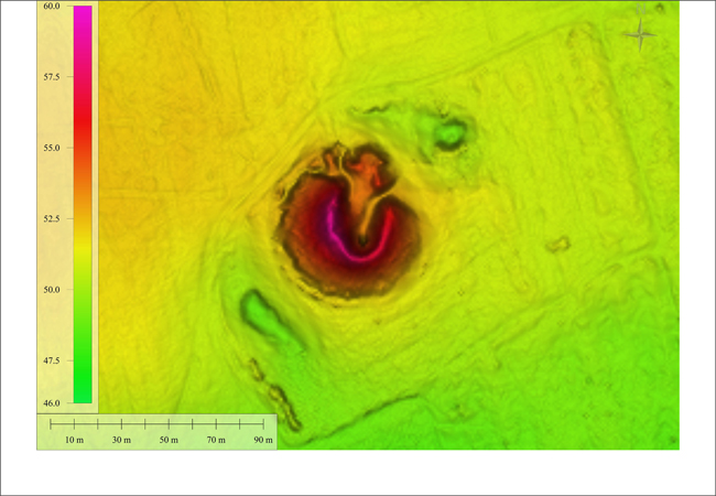 """Digital terrain model of the """"King´s Grave"""" as top view   DTM-Data: © Geobasis-DE/LGB 2013   DTM-Data realization: Ralf Hesse   Graphic: Jens May"""