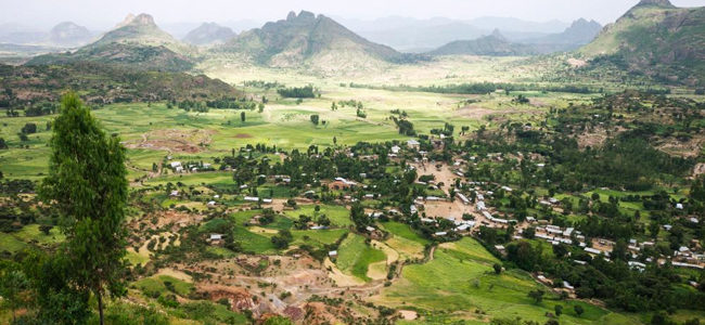 Landschaft um die Siedlung von Yeha (Äthiopien). Autorin: Irmgard Wagner, Orient-Abteilung des DAI. Copyright: DAI, Außenstelle Sanaa
