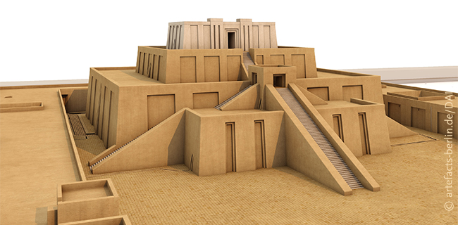 Technical reconstruction of the Eanna ziggurat of the 21st century BCE in the central district of Uruk (Warka, Iraq), source: © artefacts-berlin.de, material: Deutsches Archäologisches Institut