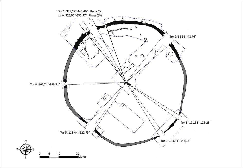 Grabungsplan der Kreisgrabenanlage Ippesheim mit modellierten Sichtlinien und abgeleiteten Azimutwinkeln / © Autorin: Christina Michel
