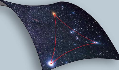 Zweidimensionales Raummodelle zeigt den sphärischen Raum / Autor und Copyright: Max-Planck-Institut für Wissenschaftsgeschichte