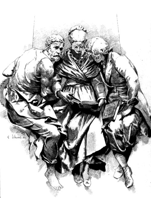 Engraving of a Reading Group, 19th century | Source: Octave Uzanne, Le Livre, Paris, A. Quantin, 1883 | Author: illegible | Public domain