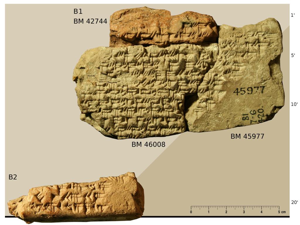Fragmente einer Keilschrifttafel mit einer mathematischen Tabelle, Foto/Collage: Mathieu Ossendrijver © Trustees of the British Museum