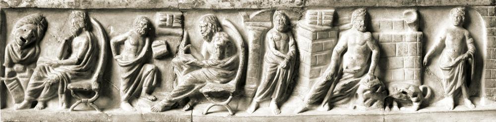 Relief from the cover plate of a sarcophagus, © Staatliche Museen zu Berlin, Antikensammlung im Alten Museum, Sk 844