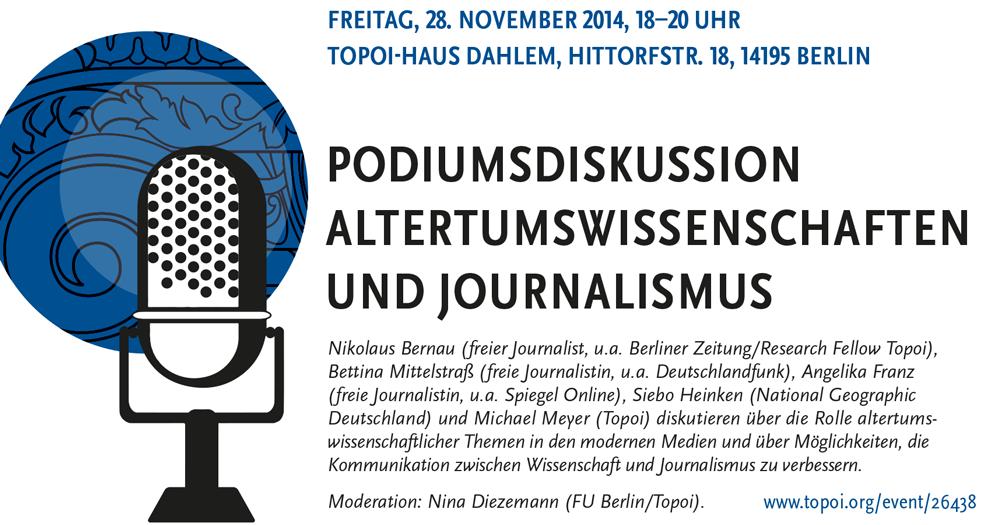 Podiumsdiskussion Altertumswissenschaften und Journalismus, Poster