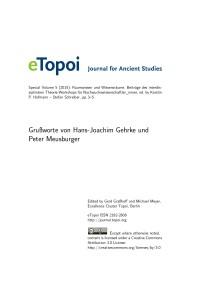 eTopoi Special Volume 5 Cover: Grussworte