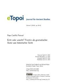 Cover eTopoi Vol5 Artikel Pascual