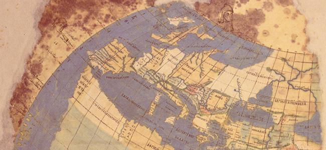Weltkarte des Ptolemaios (westlicher Teil). Die Karte beruht auf dem Werk des Ptolemaios (2. Jh. nach Chr.). Handschrift, um 1300 in Konstantinopel kopiert | Source: Topkapi Museum, Istanbul