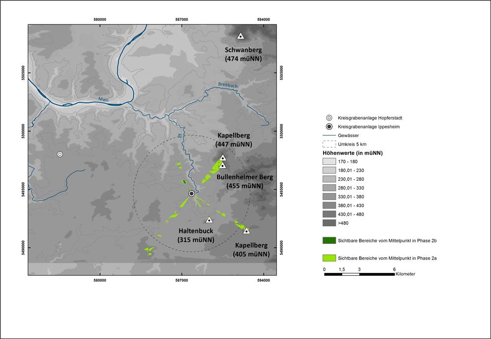 Sichtbereiche der Kreisgrabenanlage Ippesheim, Ausrichtung auf topographische Erhebungen / Autor: Christina Michel